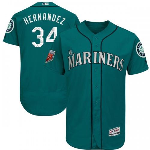 Felix Hernandez Seattle Mariners Men's Authentic Flex Base 2018 Spring Training Majestic Jersey - Aqua